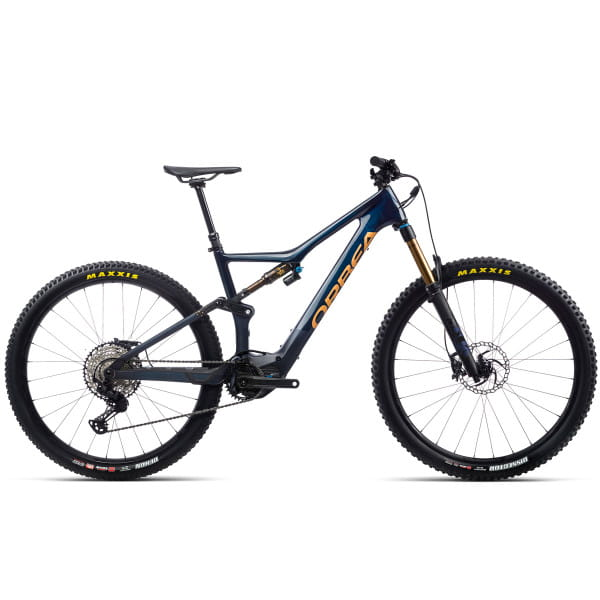 Rise M10 - 29 Zoll Fully E-Bike - Carbonblau/Rotgold