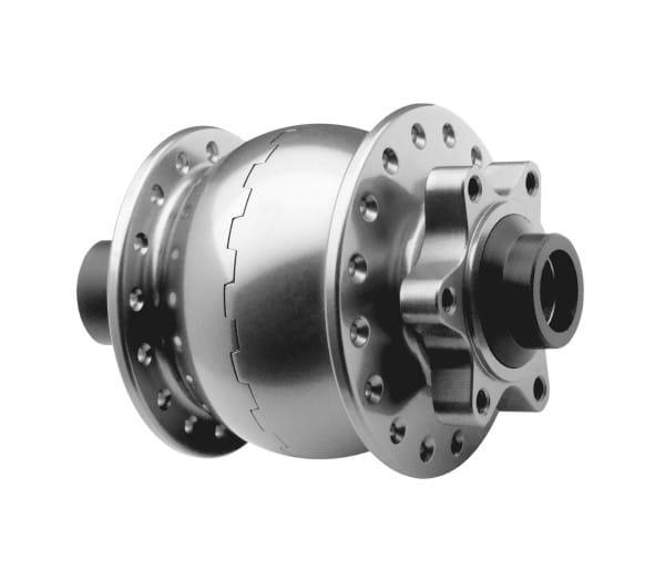 Nabendynamo-SON 28 15mm-disc 6 Loch-silber eloxiert