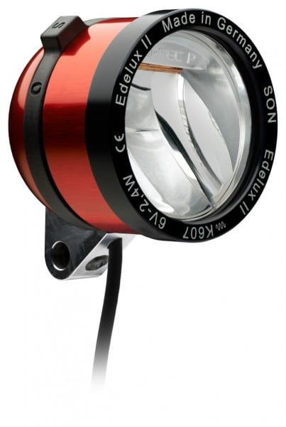 Edelux II LED-Scheinwerfer für Nabendynamos- rot eloxiert
