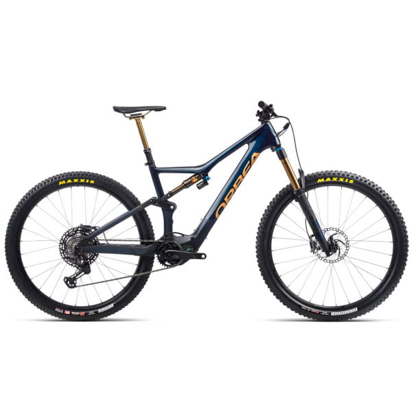 Rise M-TEAM - 29 Zoll Fully E-Bike - Carbonblau/Rotgold