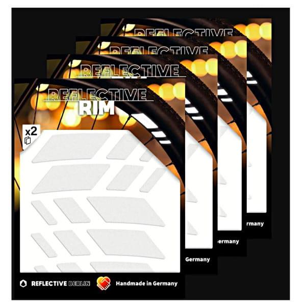 Pack of 4 Reflective Rim Racer - White