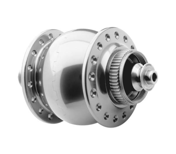 Nabendynamo-SON 28-disc-center Lock-silber eloxiert