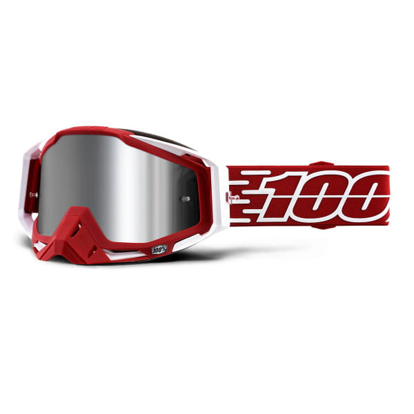 Racecraft Plus Goggles injected mirror lens - Rot/Weiß
