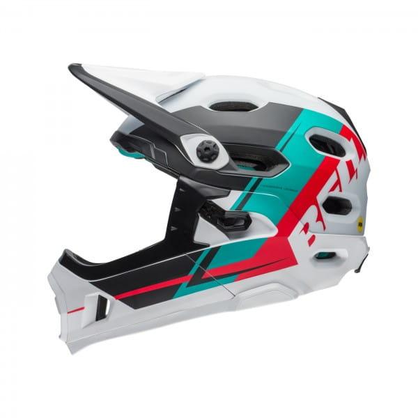 Super DH Mips Fahrradhelm - Weiß/Rot/Türkis