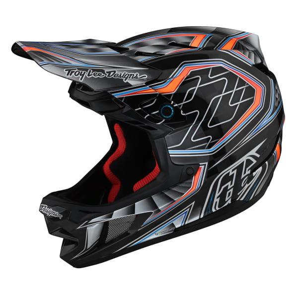 D4 Carbon - Fullface Helm - Low Rider Gray - Schwarz/Grau/Blau/Rot