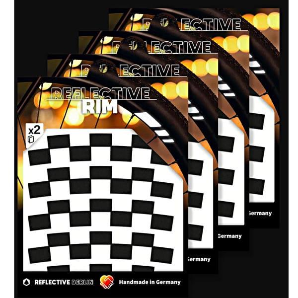 Pack of 4 Reflective Rim Checker - Schwarz